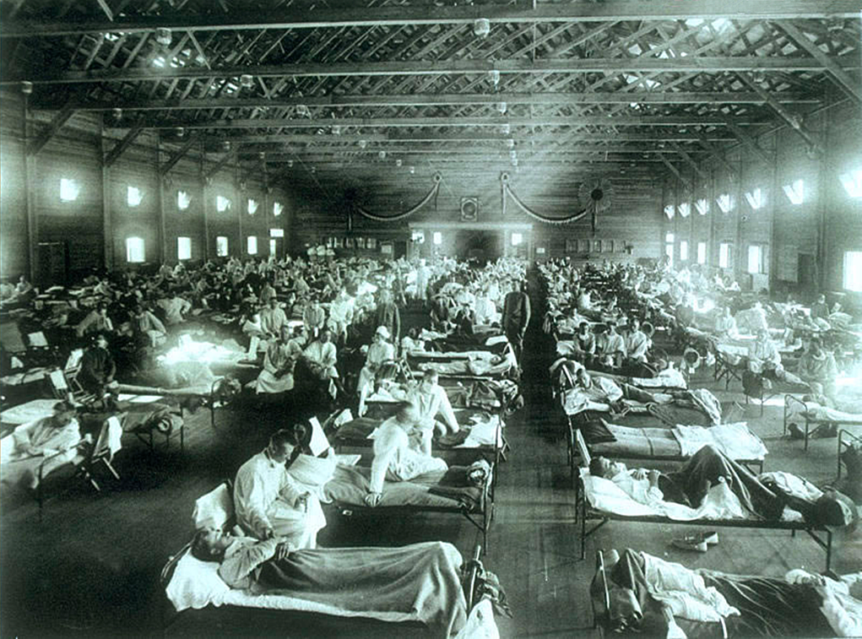Influenz-Patienten im Krankensaal von Camp Funston, Kansas, 1918 (Creative Commons) https://journals.plos.org/plosbiology/article?id=10.1371/journal.pbio.0040050